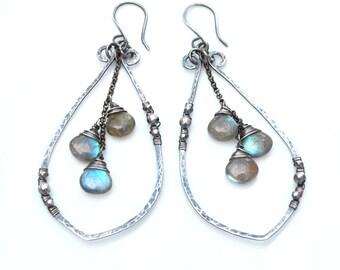 Boho Labradorite Earrings, Large Labradorite Leaf Dangle Earrings, Silver Leaf Earrings, Labradorite Dangles