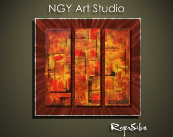 """NGY  29.5"""" x 31.5"""" Modern Contemporary Abstract Metal Wall Sculpture Art"""