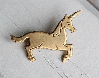 Unicorn Brooch ... Mythical Horse Vintage Brass Gold