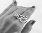 Adjustable Silver Ring, Thick Silver Wire Ring, Modern Silver Ring