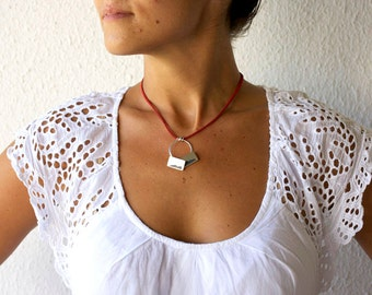 Red Blue Necklace, Nature Inspired Necklace, Blue Stone Necklace, Modern Necklace