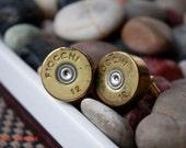 Fiocchi Gold Brass Silver 12 GA Shotgun Shell Cufflinks