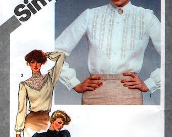 Simplicity 9809 Vintage 80s Misses' Set of Blouses with Lace Trims Sewing Pattern - Uncut - Size 10 - Bust 32.5