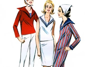 Butterick 3011 Vintage 60s Misses' Jr. & Misses' Nautical Sportswear Sewing Pattern - Uncut - Size 12 - Bust 32
