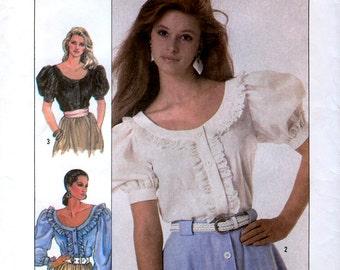 Simplicity 8498 Misses' Blouse Sewing Pattern - Uncut - Size 6, 8, 10