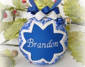 Personalized Ornament Quilted Christmas Ornament blue white