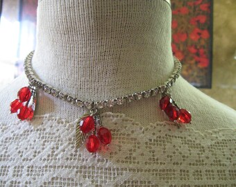 SALE  // Red Crystal Cherries/Cherry Charm Necklace/ Vintage Rhinestone Choker Necklace/ RockaBilly/ Pin Up Girl Jewelry