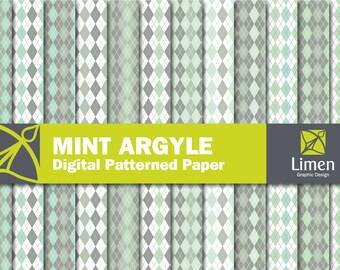 Mint Argyle Digital Paper Pack, Argyle Paper, Argyle Pattern, Mint Paper, Argyle Scrapbook Paper, Argyle Background, Diamond Paper