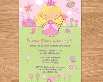 Princess First Birthday Invitation - Princess 1st Birthday - Princess Birthday Invitation Printable - Princess Birthday Party - Girl Invites