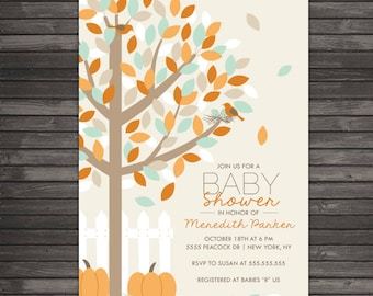 Fall Baby Shower Invitations Printable - Pumpkin Baby Shower Invites - Little Pumpkin Baby Shower Invitation - Autumn Baby Shower Invite
