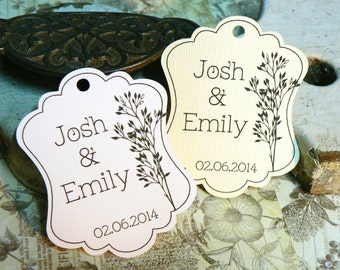 Wedding Favor Tag, Personalized Gift Tags or Shower Favor Tags, Custom Labels, Custom Gift Card No. 12