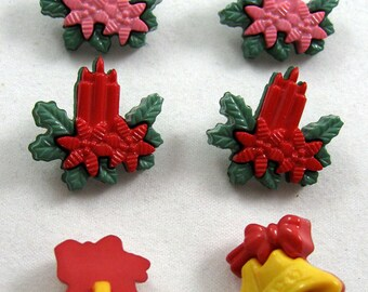 Multicolored Christmas Buttons Set of Six