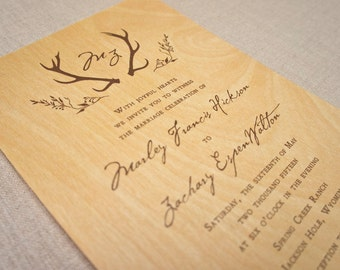 Real Wood Wedding Invitations - Rustic Antlers