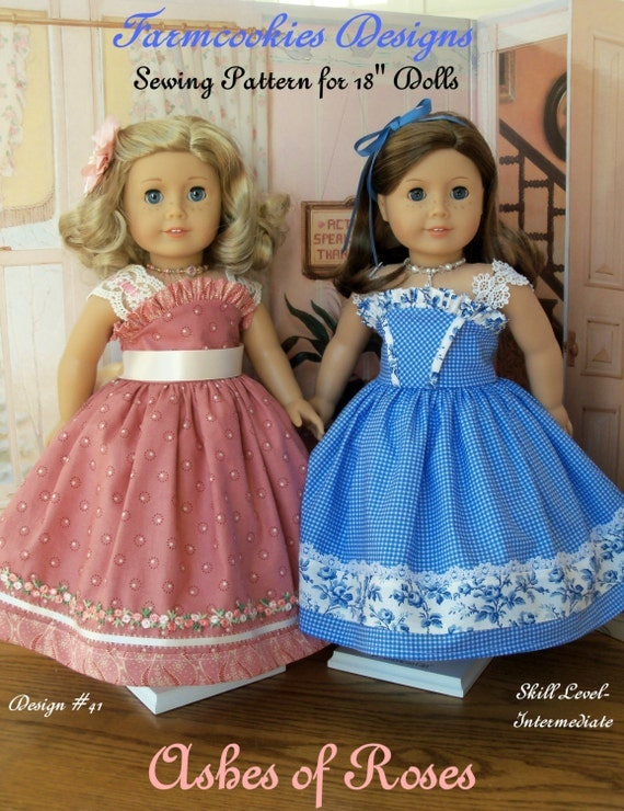 "PDF Sewing Pattern / Ashes of Roses /  Fits American Girl or Other 18"" Dolls"