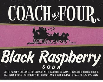 Coach and Four Black Raspberry Vintage Soda Label, 1940s