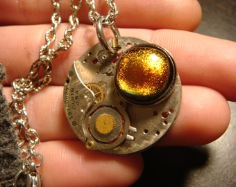 Steampunk Elgin Vintage Watch Movement  with Fused Glass Necklace  (1244)
