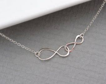 Interlocking Infinity Necklace, Sterling Silver Infinity, Bridesmaid Jewelry, Dainty double Infinity Necklace, Mother and daughter Necklace
