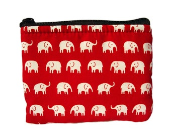 Elephant in Red Print Coin Bag