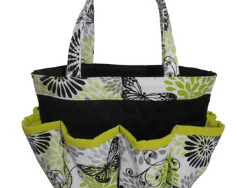 Lime Green and Grey Butterfly Print Bingo Bag // Craft Organizer // Makeup Organizer // Caddy // Teacher Tote // Nurse Tote
