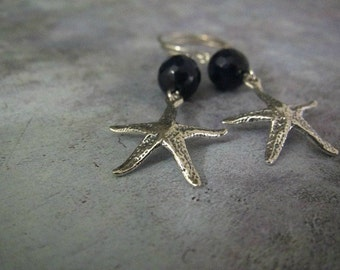 Starfish Earrings | Nautical Earrings | Navy Blue Jade Earrings | Beach Ocean Summer Jewelry