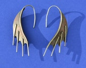 Copper and Sterling Silver Mixed Metal Dragon Wing Earrings