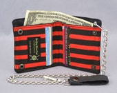 Vegan Chain Wallet Red and Black Pirate Stripe with Black Canvas