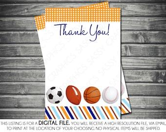 Boys Baby Shower Thank You Card - Sports, Baseball, Football, Navy Blue, Orange, Printable, Digital