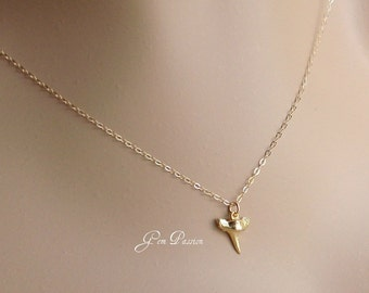 Gold Shark Tooth Necklace, Tiny Shark Tooth Necklace, 18k Gold Vermeil Tooth, 14k Gold Filled Chain, Layering, Beach Girl, Hawaii  Necklace