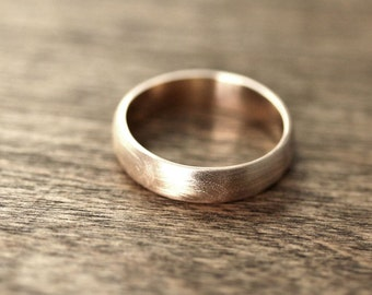 Men's Gold Wedding Band, Recycled 10k Yellow Gold 5mm Wide Brushed Low Dome Man's Gold Wedding Ring - Made in Your Size