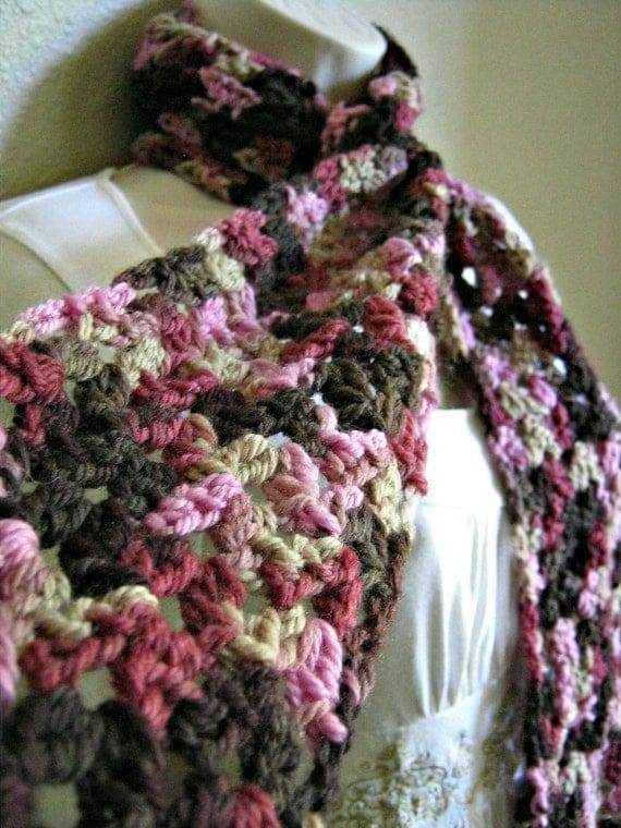 Rosewood Rose Pink Brown Wool Crochet Scarf