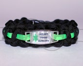 Custom Made For You Medical Alert ID ALLOY Charm on 550 Paracord Survival Strap Bracelet with Plastic Contoured Side Release Buckle