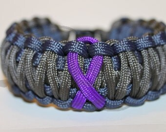Epilepsy Migraine Chiari Alzheimer's Thyroid Cancer Purple Awareness Ribbon Paracord King Cobra Survival Strap Bracelet Anklet with Buckle