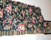 Black floral and stripe valance Mill Creek drapery fabric