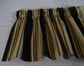 Black And Tan Stripe Kitchen Valances