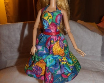 Colorful Easter egg print dress with ruffled skirt for Fashion Dolls - ed560