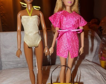 Yellow swimsuit, pink cover-up and yellow tote bag set for Fashion Dolls - ed605