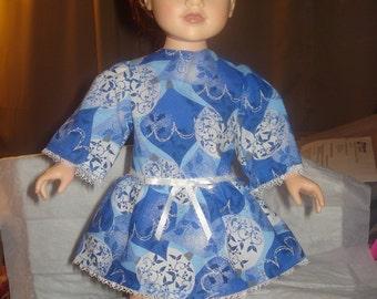 Blue, white & silver geometric print droped waist dress for 18 inch Dolls - ag221