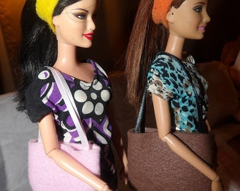 Accessory Set - 2 purses, 2 belts / headbands, 1 pair of shoes for Fashion Dolls - as2