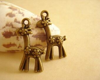 6pcs Antiqued Bronze 3D Deer Charm Pendant Double Sided 30x17mm B-1041