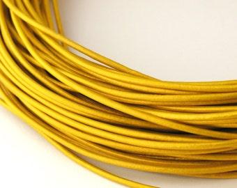 LRD0110062) 1.0mm Mustard Genuine Metallic Round Leather Cord.  1 meter, 3 meters, 5 meters, 10 meters, 19.4 meters.  Length Available.