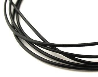 LRD0110002) 1.0mm Black Genuine Round Leather Cord.  1 meter, 3 meters, 6.8 meters, 13.4 meters.  Length Available.