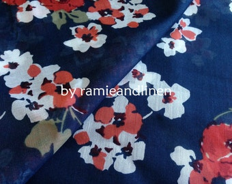 "silk fabric,  floral print on deep navy blue silk cotton blend fabric, half yard by 43"" wide"
