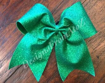 Green Sparkle Cheer Bow