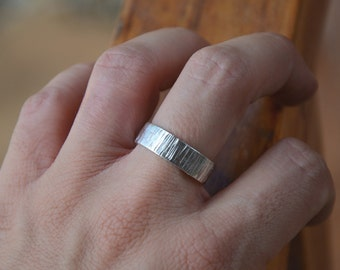 Rustic Wedding Band - Bark Textured Wedding Ring in Sterling Silver - Women or Men's Wedding Band