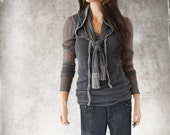 Gray top set/Scarf hoody and shirt/long sleeve boat neck