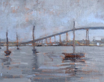 Sailboats- San Diego Bay Bridge Landscape Painting