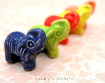 Ceramic Elephant Beads, 5pc Colorful Ceramic Beads, 15x14mm