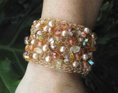 Crochet Pearl and Crystal Bracelet