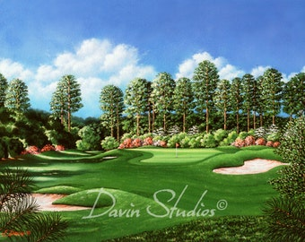 "Golf art, golf bunkers, golf course signed art print of original oil painting called ""The Seventh Hole"""