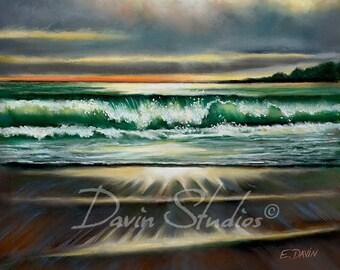 "Carmel, CA. Seascape signed art print of original pastel painting called ""Breaking Wave."""